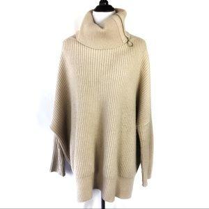 All Saints Cream Tan Oversized Wool Sweater